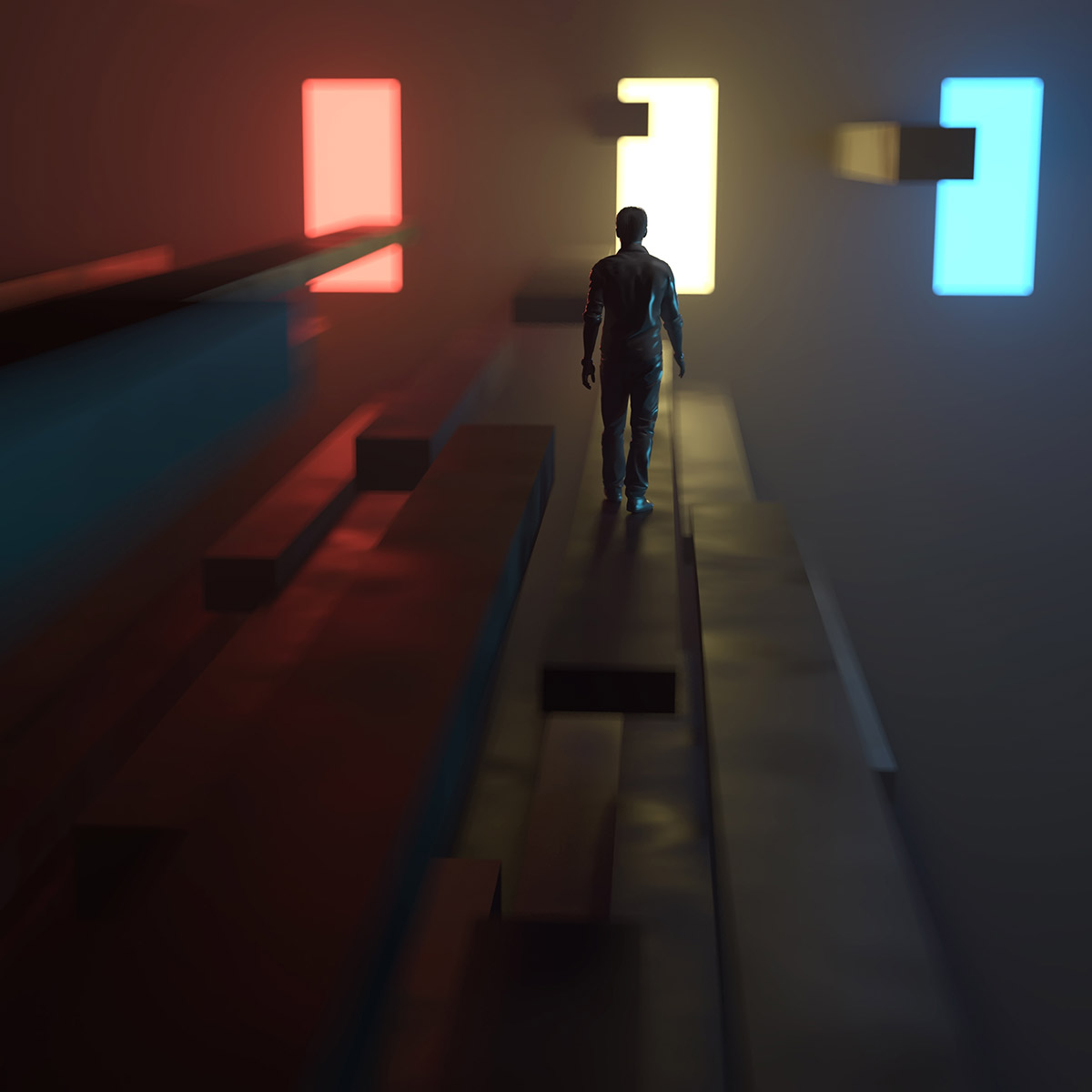 man going to the light